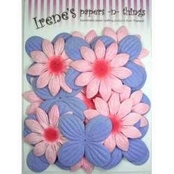 Zestaw papierowych kwiatków (20 szt.) niebieskie i różowe