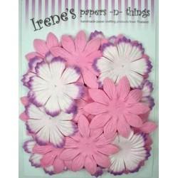 Zestaw papierowych kwiatków (20 szt.) różowe i białe