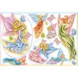 Papier ryżowy do decoupage DFS014 - elfy i motyle