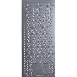Naklejki samoprzylepne gwiazdki mniejsze i większe srebrne