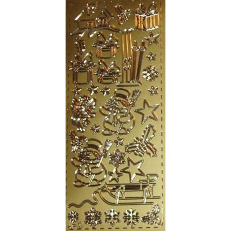 Naklejki samoprzylepne bałwanki i sanki złote