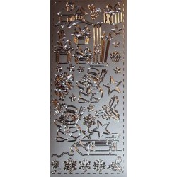 Naklejki samoprzylepne bałwanki i sanki srebrne