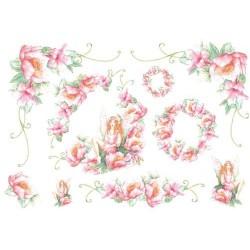 Papier ryżowy do decoupage DFS044 - różowe kwiaty i elfy