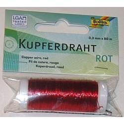 Drut miedziany ozdobny, miękki czerwony 0,3 mm/80 m