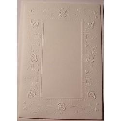 Kartka tłoczona biała różyczki