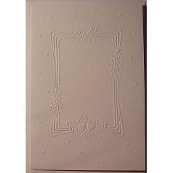 Kartka tłoczona biała ramka