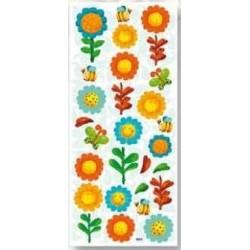 3D effect sticker duże kwiatki