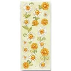 3D effect sticker białe i żółte kwiatki