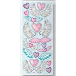 3D effect sticker skrzydła i serca