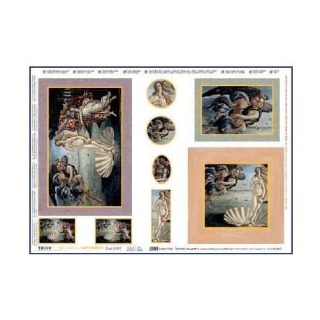 Papier do decoupage z nadrukiem metalicznym - Botticelli Venere