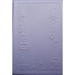 Kartka tłoczona biała bombki i śnieżynki