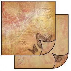 Papier do scrapbookingu dwustronny 31,2x30,3 cm - motyl i pismo