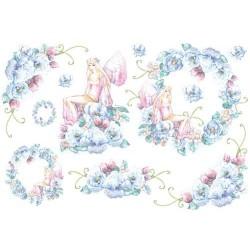 Papier ryżowy do decoupage DFS045 - dwa elfy i niebieskie kwiaty