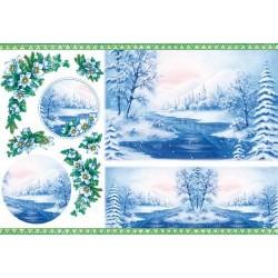 Papier ryżowy do decoupage DFS007 - zimowe, niebieskie drzewa