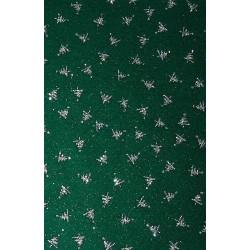 Filc z brokatem zielony, srebrne choinki