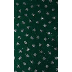 Filc z brokatem zielony, srebrne gwiazdy