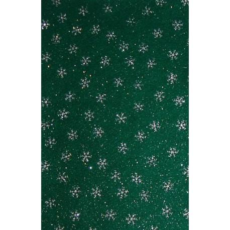 Filc z brokatem zielony, srebrne śnieżynki