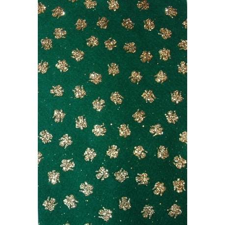 Filc z brokatem zielony, złote anioły