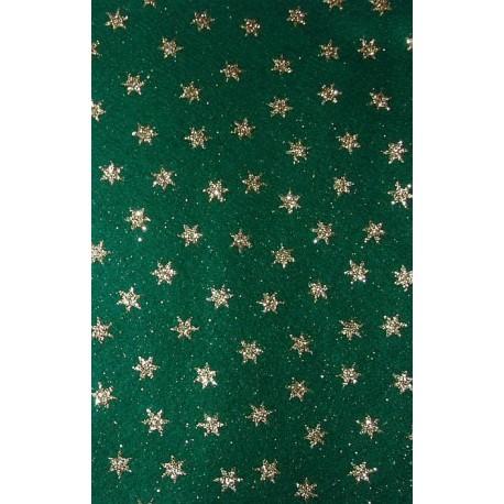 Filc z brokatem zielony, złote gwiazdy
