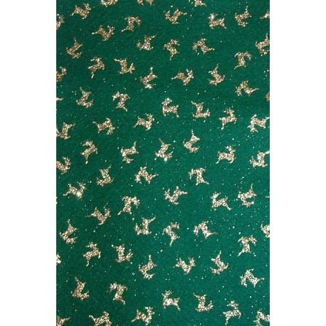 Filc z brokatem zielony, złote renifery
