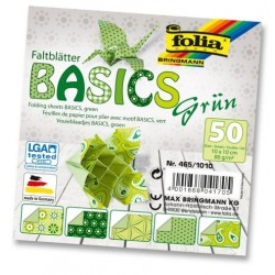Papier do origami Basics 10 cm mix zielone