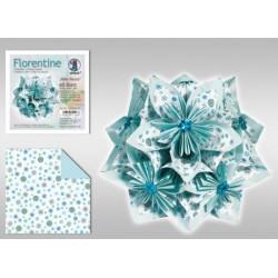 Papier do origami Florentine Mille fleurs 10 cm turkusowy