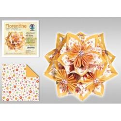Papier do origami Florentine Mille fleurs 10 cm żółty