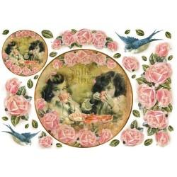 Papier ryżowy do decoupage DFS105 - róże, ptaszki i dzieci