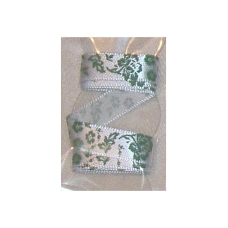 Tasiemka satynowana 9 mm kwiaty i liście 9