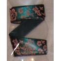 Tasiemka satynowana 9 mm kwiaty i liście 18