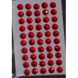 Kryształki samoprzylepne czerwone 5 mm