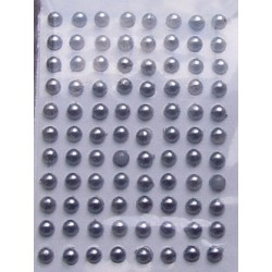 Półperełki samoprzylepne 3 mm srebrne
