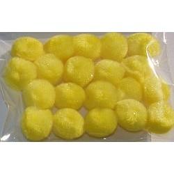Pompony akrylowe 15 mm żółte 20 sztuk