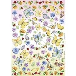 Papier Classico do decoupage 50 x 70 cm DFG241 motyle i anemony