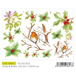 Papier Artistico Mini Soft Holly and Robin 125X35 033