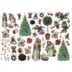 Papier do decoupage ITD 181 - Boże Narodzenie szopka