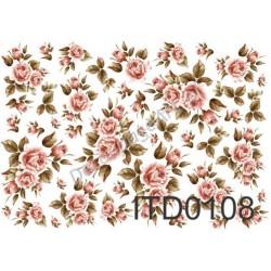 Papier do decoupage ITD 108 - Róże ciemno-różowe