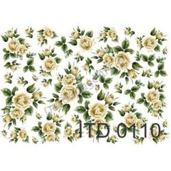 Papier do decoupage ITD 110 - Róże żółte