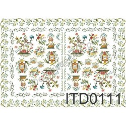 Papier do decoupage ITD 111 - Ornamenty z błękitnymi kwiatuszkam