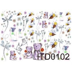 Papier do decoupage ITD 102 - Misie i pszczółki