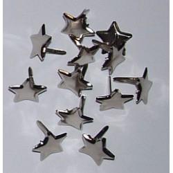 Ćwieki metalowe gwiazdki srebrne 14mm 12 sztuk