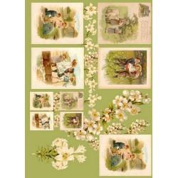 Papier do decoupage Enjoy 50 x 70 cm - Sielskie widoczki zieleń
