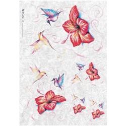 Papier ryżowy Kalit do decoupage ani030 Kolibry i hibiskus