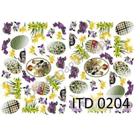Papier do decoupage ITD 204 - Pisanki i fiołki