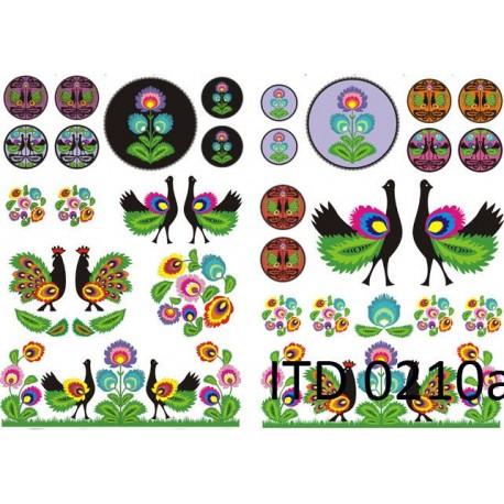 Papier do decoupage ITD 210 - Łowickie wycinanki z kogutami