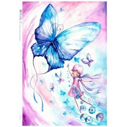 Papier ryżowy Kalit do decoupage bam0016 Elf i niebieski motyl