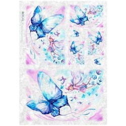Papier ryżowy Kalit do decoupage bam0017 Elfy i niebieskie motyl