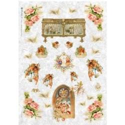 Papier ryżowy Kalit do decoupage vitspi0009 Anioły i róże