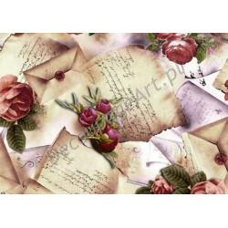 Papier ryżowy ITD Collection 007 - Róże i listy