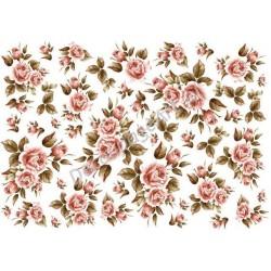 Papier ryżowy ITD Collection 033 - Róże jasno-różowe